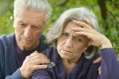 Portrait of a sad elder couple — Stock Photo