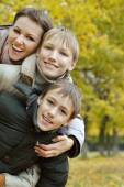 Beautiful mother and children — Stock Photo