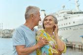 Elderly couple near ship — Stock Photo