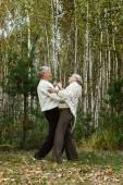 Old people in autumn park — Stock Photo