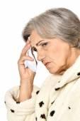Mature woman fell ill — Stock Photo