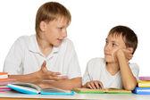 Brothers doing homework — Stock Photo