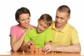 Parents playing constructor with boy — Foto de Stock