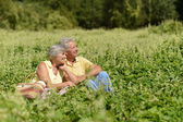 Happy old people in summer park — Stock Photo