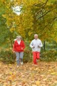Paar uitoefenen in park — Stockfoto
