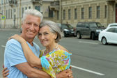 Smiling retired couple outdoors — Foto Stock
