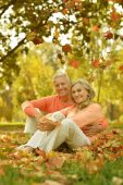 Happy elderly couple resting — Stock Photo