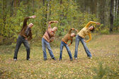 Family doing exercises — Stock Photo