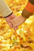 Hands against fallen leaves — Stock Photo