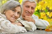Mature couple in the autumn park — Stock Photo