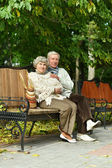 Mature couple sitting in the park — Stockfoto