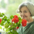 Senior woman with red flowers — Stock Photo #59852039
