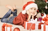 Kid with gift — Stock Photo