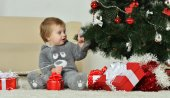 Little boy  near new-year tree — Stock Photo