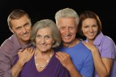 Family portrait with senior parents — Foto Stock