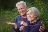 Mature couple  in  park — Stock Photo