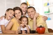 Family drinking  tea — Stock Photo