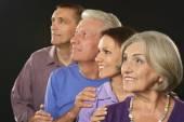 Family portrait with senior parents — Stock fotografie