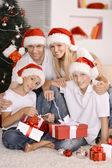 Family celebrating New Year — Stock Photo