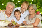 Grandparents with grandsons reading — Stockfoto