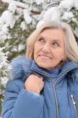 Old woman in  winter — Stock Photo