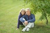 äldre par sitter på gräset — Stockfoto