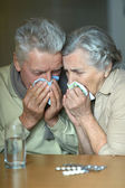 Portrait of ill senior couple — Photo
