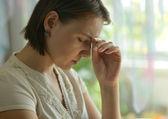 Sick woman with headache — Stock Photo