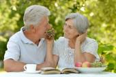 Old couple with fruits ans drink — Stock Photo