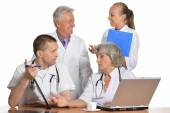 Doctors have  discussion at table — Stock Photo