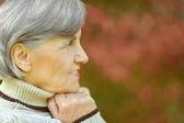 Starší žena v podzimním parku — Stock fotografie