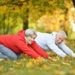 Senior couple exercising in park — Stock Photo #65064255