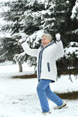 Old woman in the winter — Stock Photo