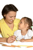 Mother with daughter drawing — Stock Photo