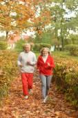 Senior couple jogging in  park — Stock Photo