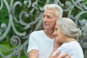 Beautiful elderly couple outdoor — Stock Photo