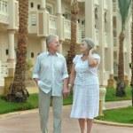 Senior couple at tropic  garden — Stock Photo #68347653