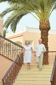Senior couple at tropic  garden — Stock Photo