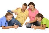 Gelukkige familie van vier — Stockfoto