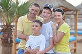 Family at tropical resort. — Stock Photo