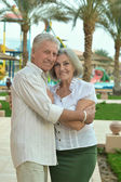 Senior couple  at tropic hotel garden — Foto de Stock