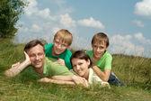 Family having fun on  nature — Stock Photo