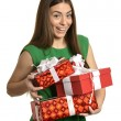 Happy woman with gift boxes — Stock Photo #70242187