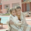 Wet Brother and Sister on resort — Stock Photo #70242231