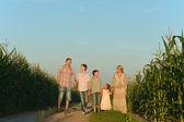 Family walking in field — Stockfoto