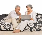 Senior couple with notebook — Stock Photo