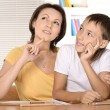 Mother and son drawing together — Stock Photo #71477679