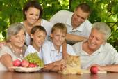 Family eating fruits in summer — Stock Photo