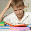 Boy does homework at home — Stock Photo #73670865