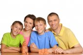 Family of four people playing — Stock Photo